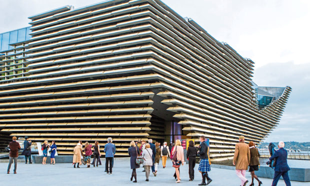 Visitors outside V&A Dundee.
