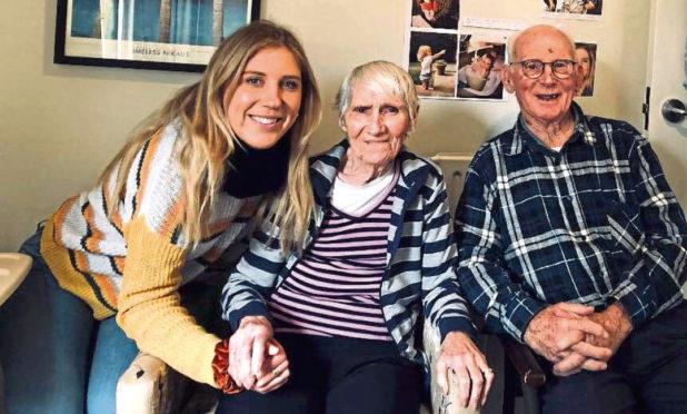 Hilary Hanton with her grandparents Ella and Tom McFarlane.