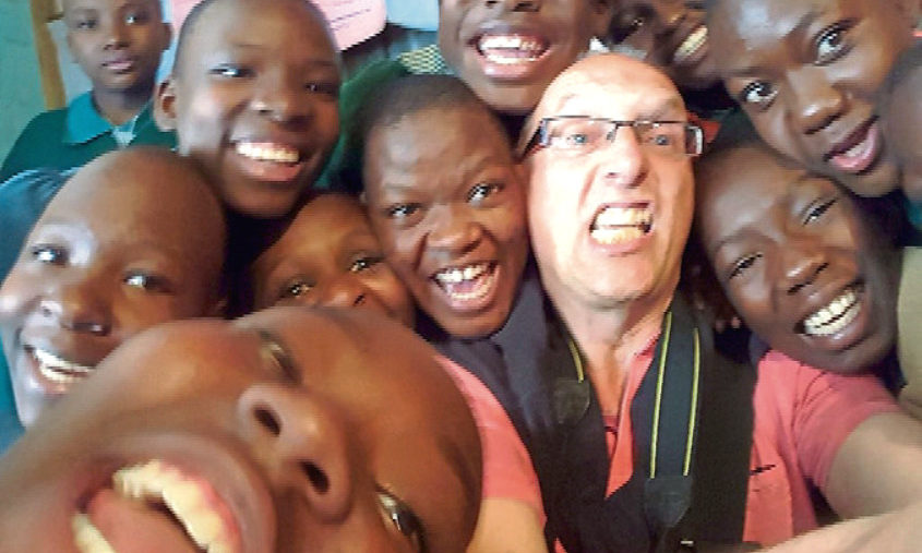 Chris with some of the children in Nairobi.