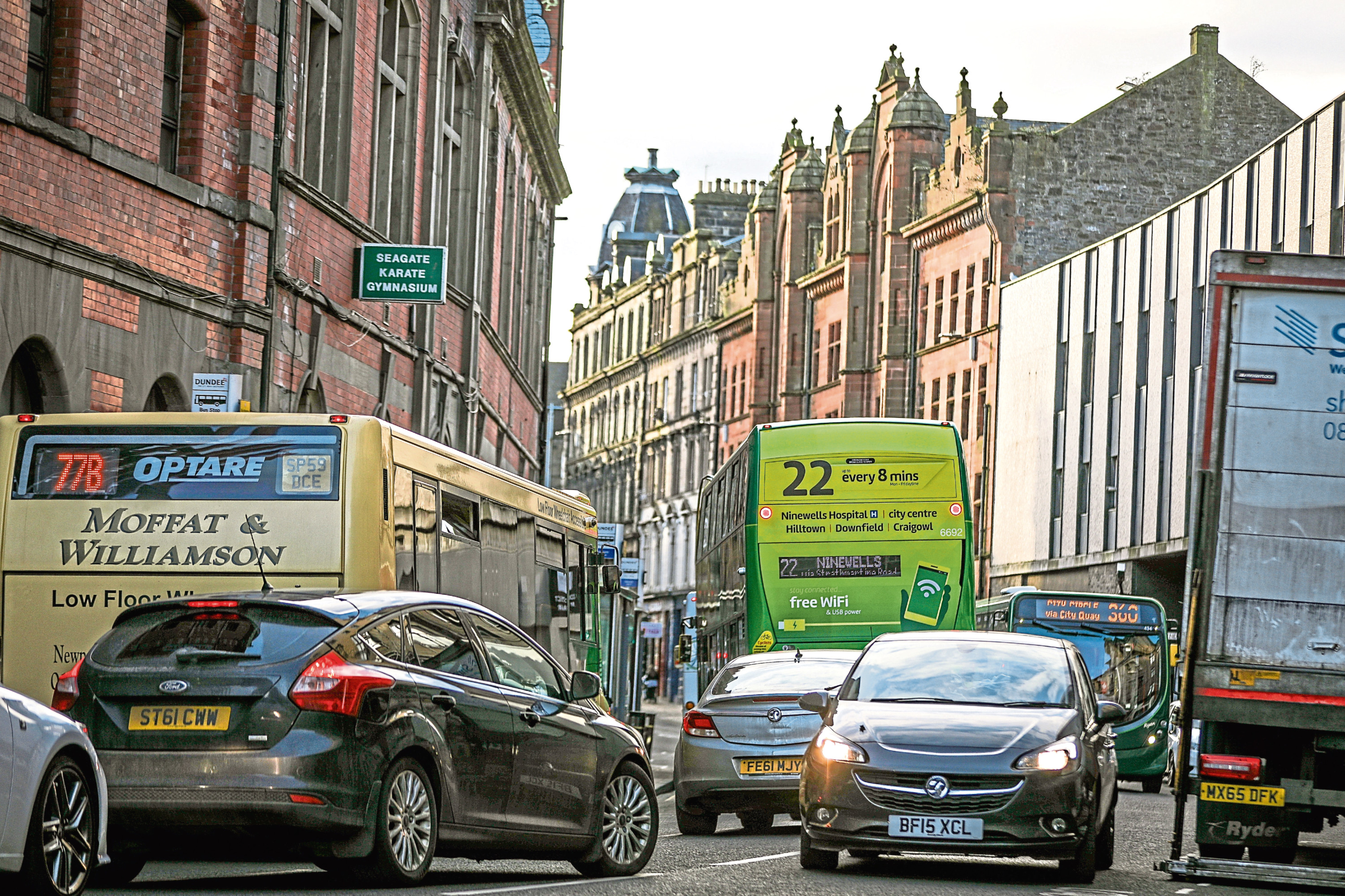 Traffic in Dundee city centre.