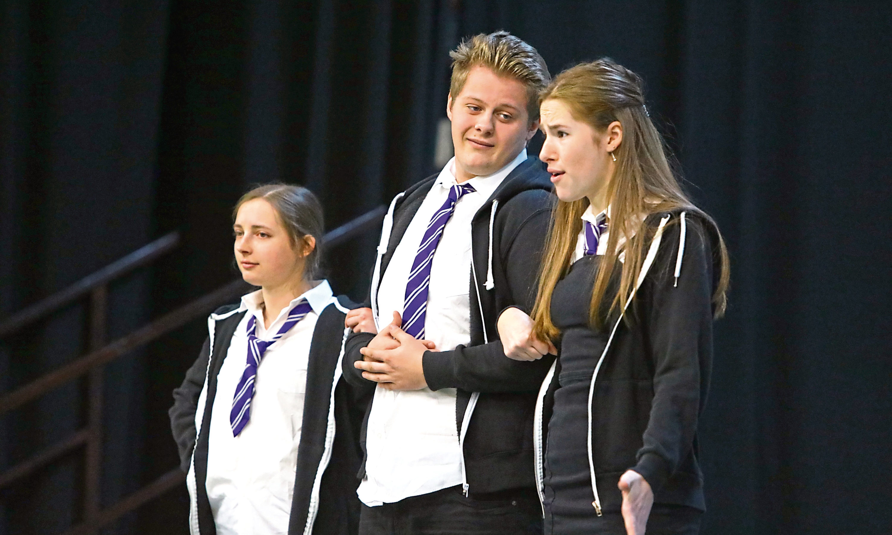 Tthe members of the Fast Forward drama group, during their performance of 'No Knives, Better Lives' at St. John's RC High School in Dundee.