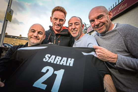 John Manby, Wayne Hoskins, Ally Donald and Steve Addison, Sarah's Dad, with the strip.
