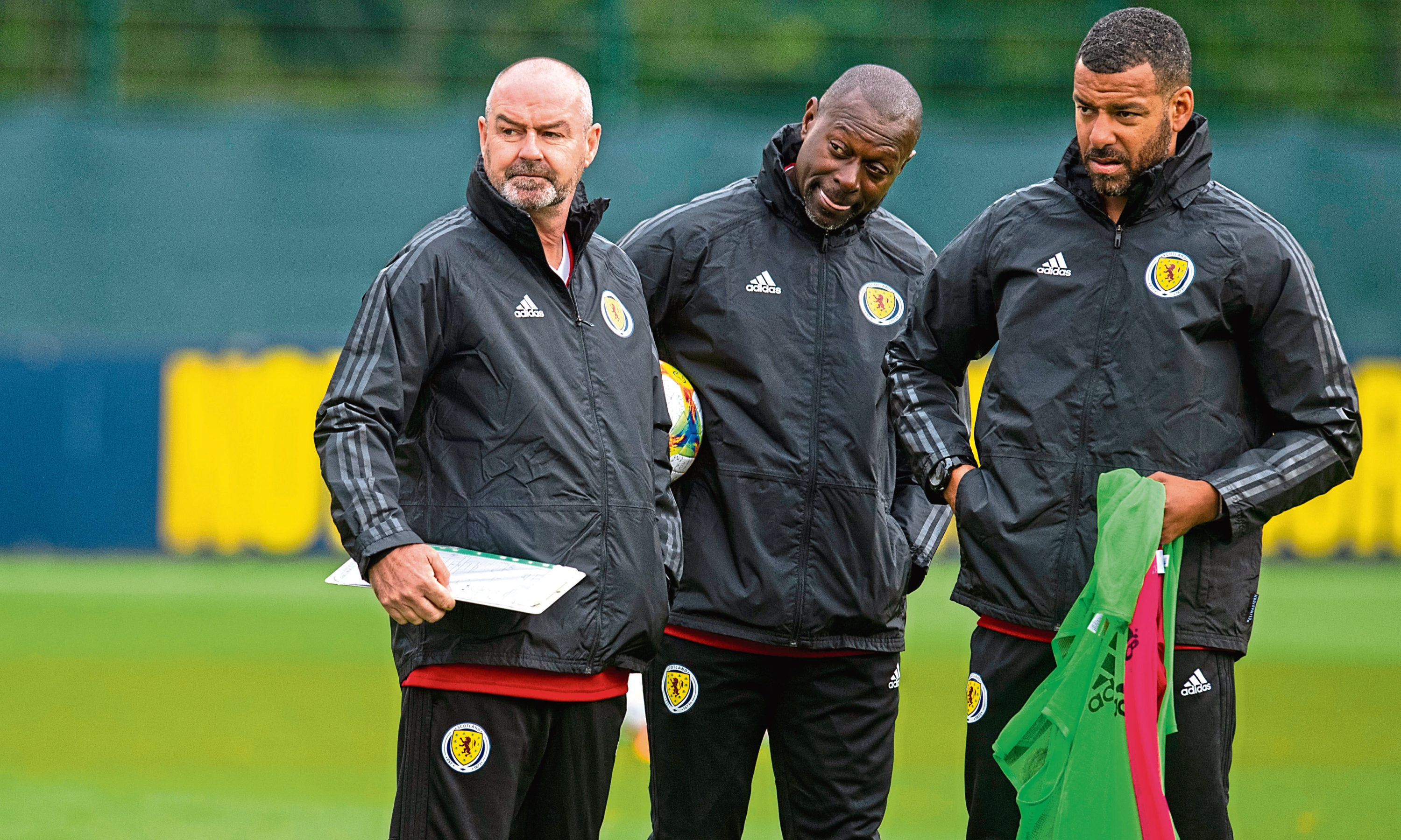 Steve Clarke with coaches Steven Reid and Alex Dyer.
