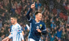Shankland celebrates his first goal for Scotland.