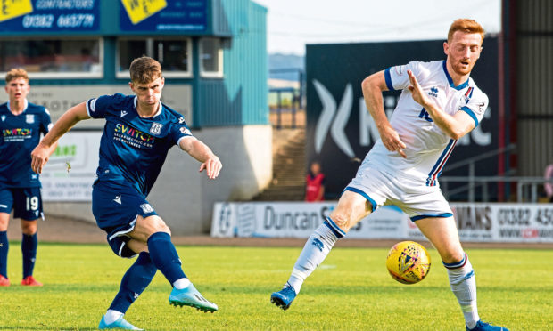 Josh McPake has a shot at goal for Dundee against Inverness.