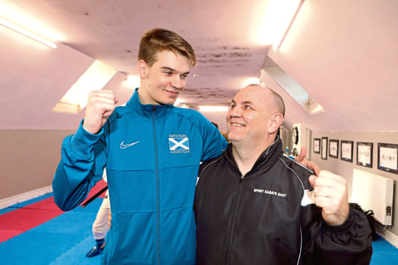 Richard Mallinson pictured with 15-year-old Matthew Pratt.