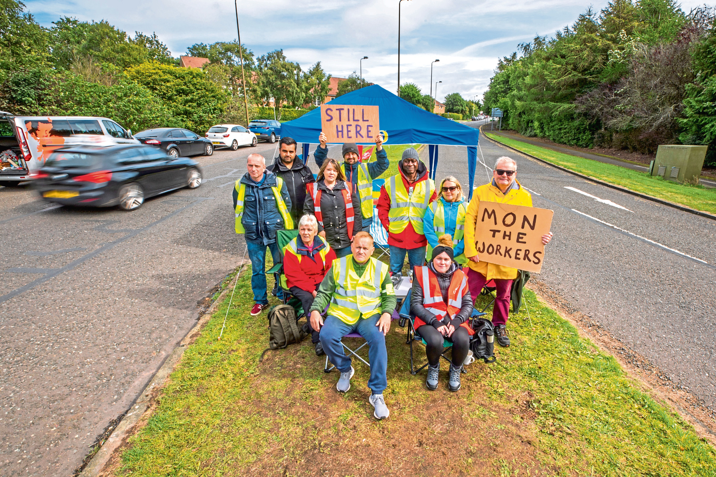 A group of protesters near Ninewells Hospital.