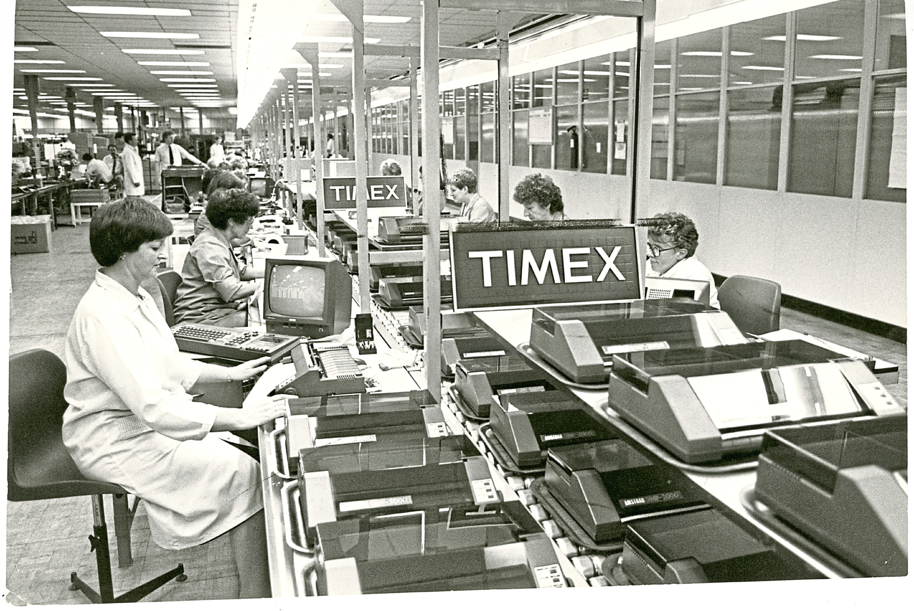 The final assembly line in the Timex factory for an Amstrad Printer.
