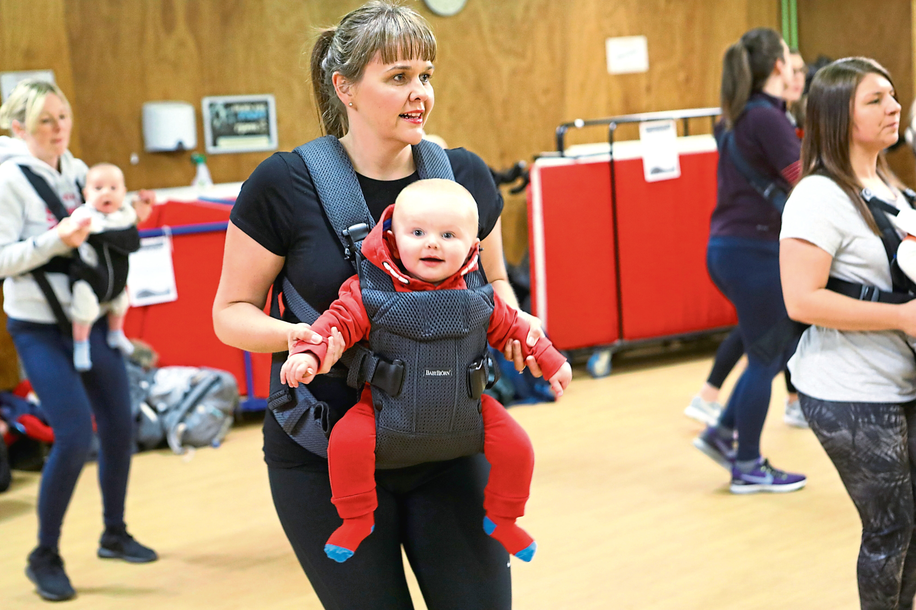 Some of the mums with their babies at the Boogie Babies class.