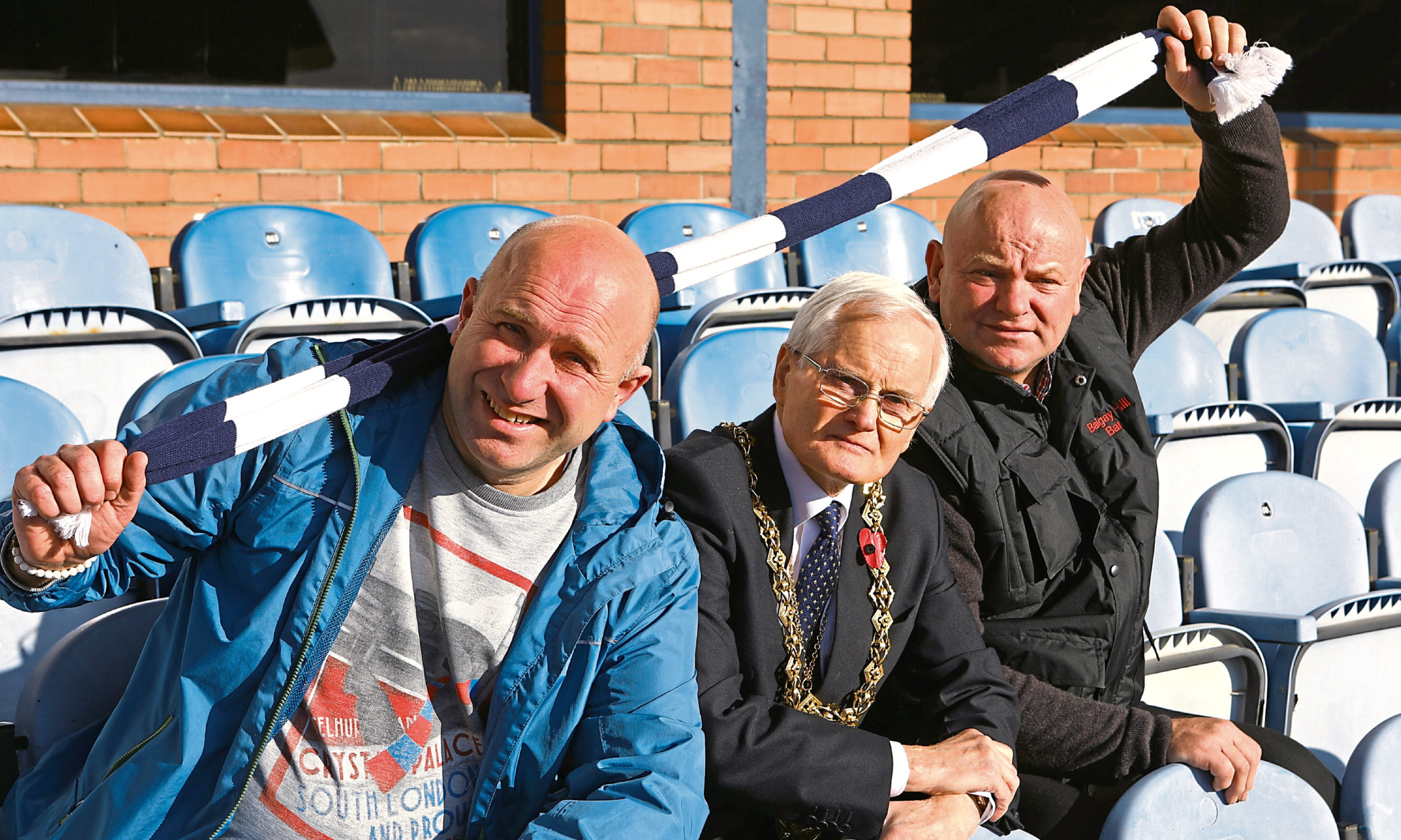 Lord Provost Ian Borthwick with Richard Peter-Tennant, left, and Paul Murphy.