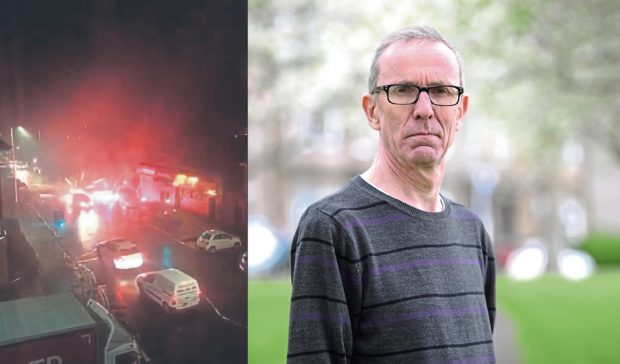 The fireworks, left, and Councillor Fraser Macpherson, right.