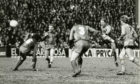Dundee United player Eamonn Bannon taking a shot against Barcelona FC on March 4 1987.
