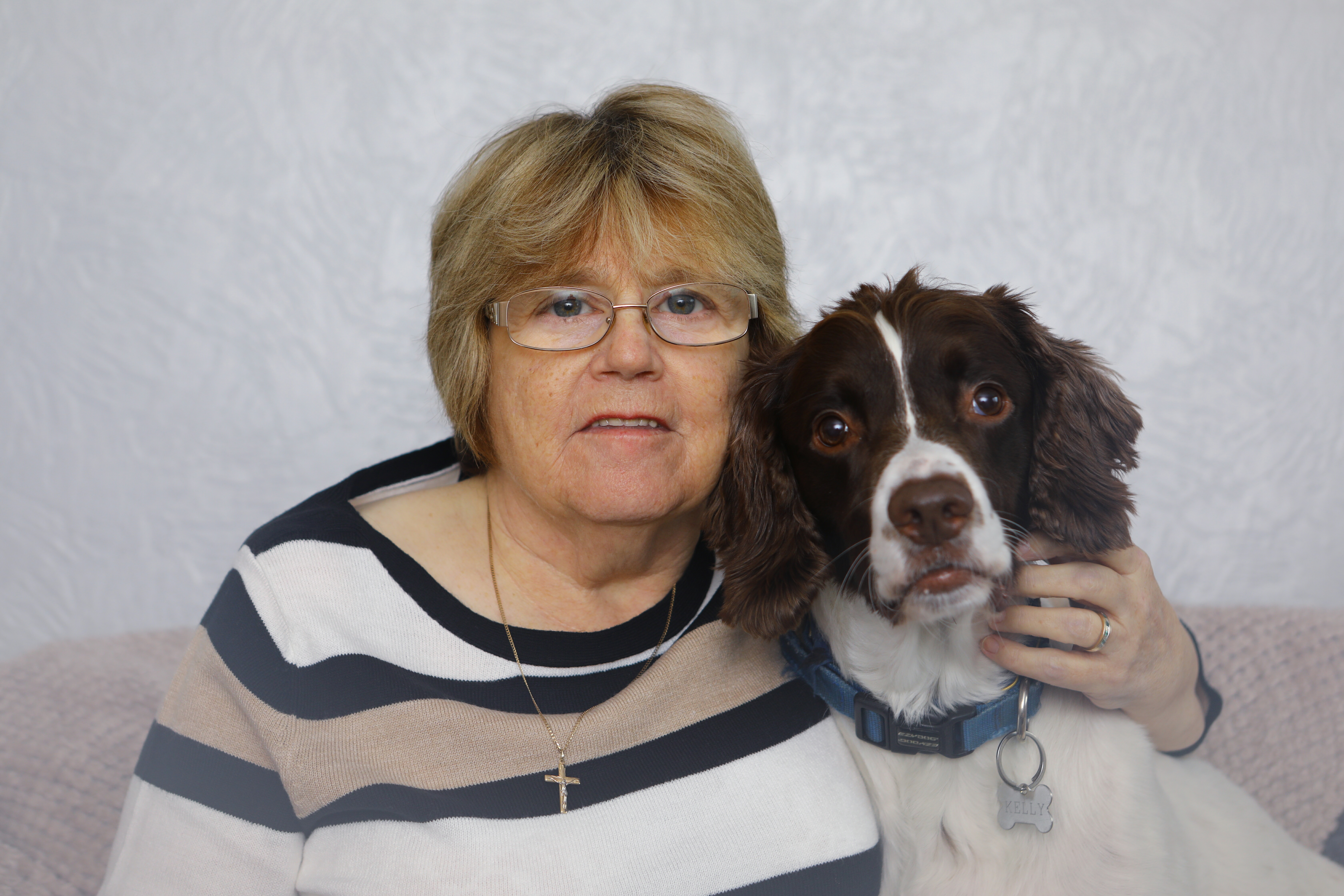 Mary Kelly with her dog Murphy at home in Dundee.