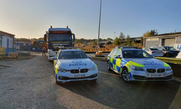 The vehicle which is being transported down the A90.