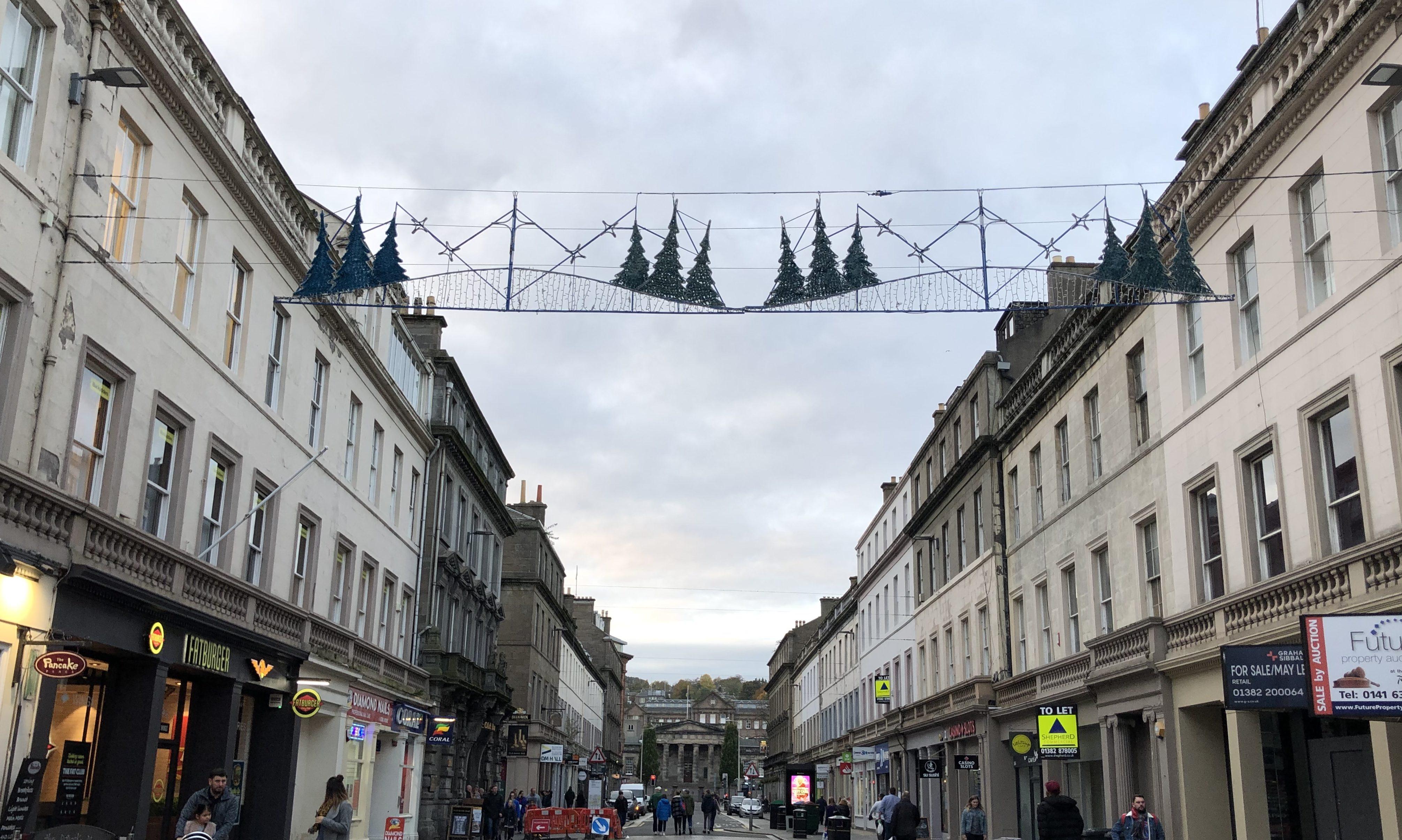 Christmas lights on Reform Street, Dundee.