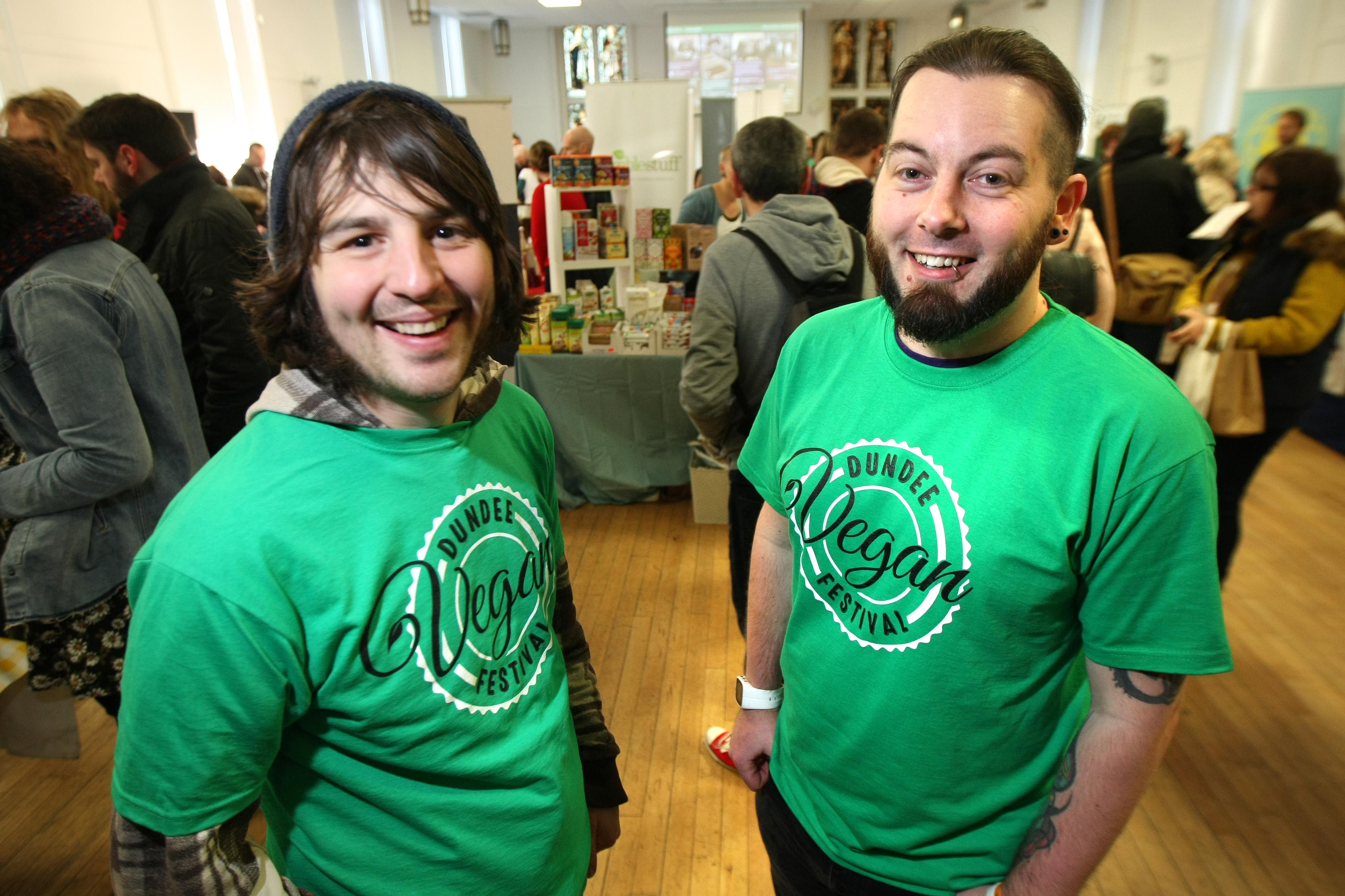 Jamie Kidd and Barry Mackie-Conlon at the 2016 vegan festival.