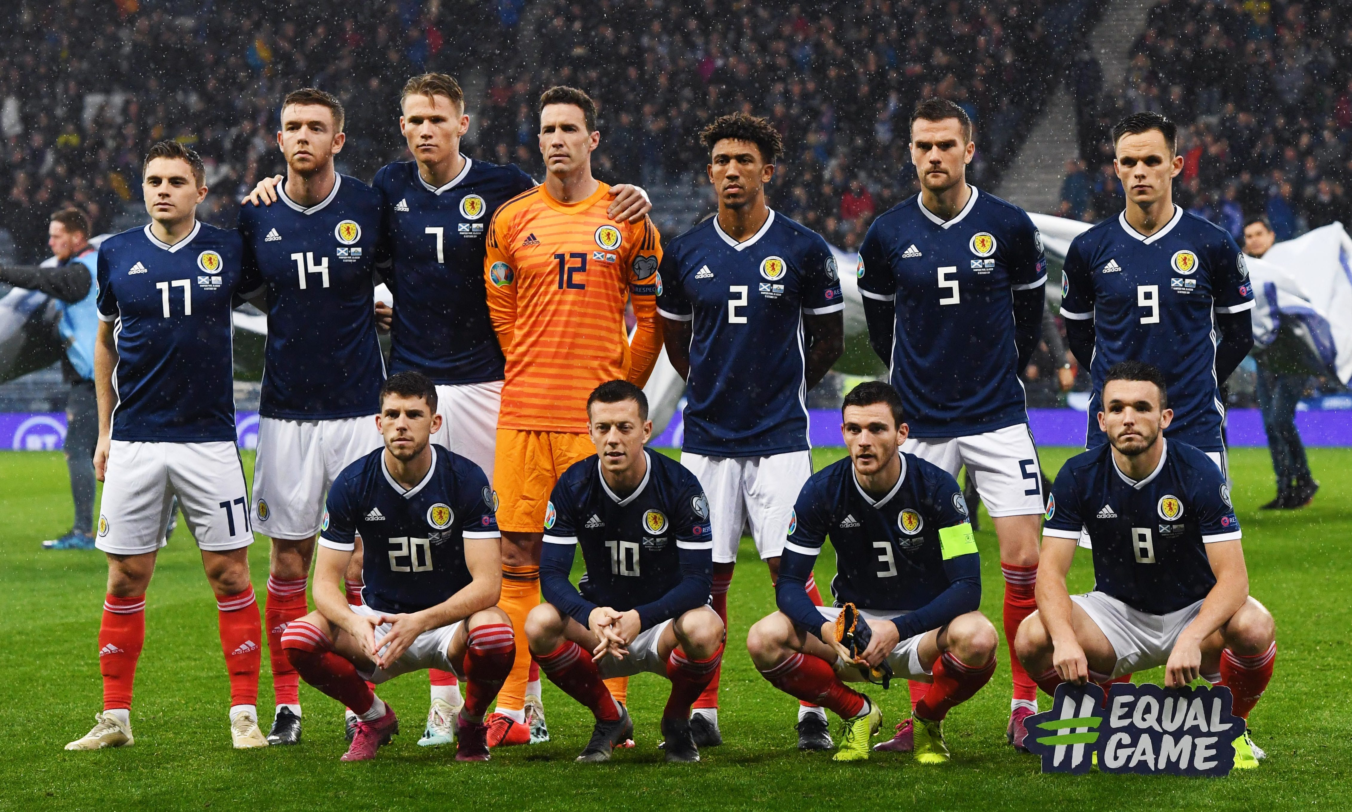 The Scotland team are pictured ahead of the UEFA European qualifier.