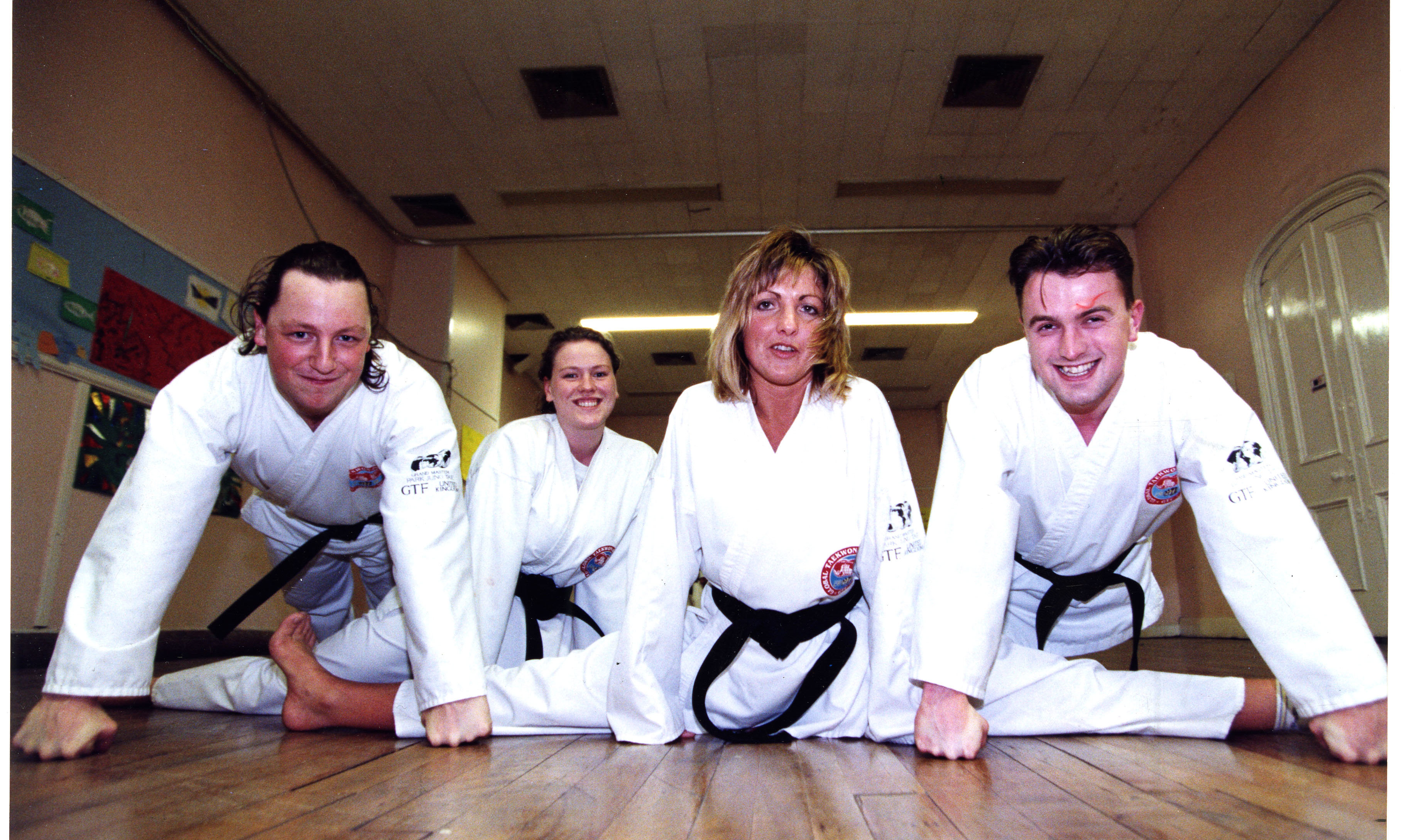 Nathan Ridout, Caroline Ross, Janice Urquhart and Pascal Holt of the  Tayside Tae Kwan Do group in 1994.