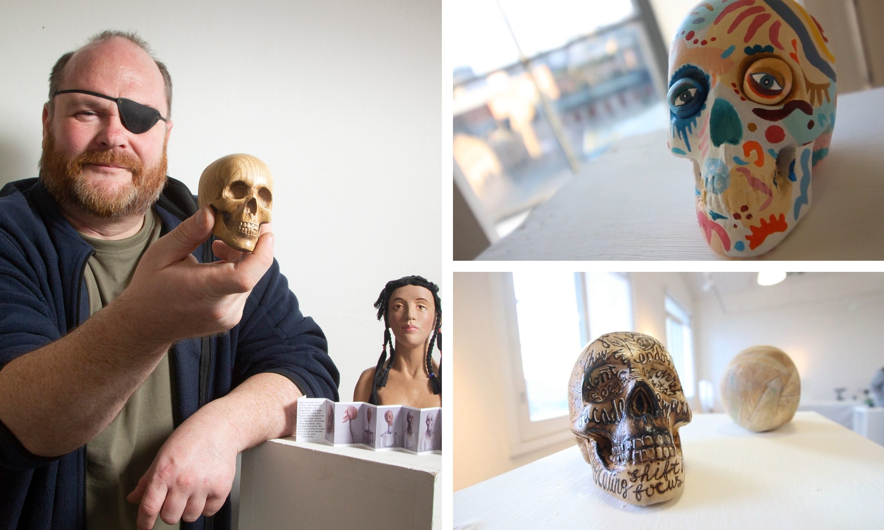 Jack Anderson, a wood turner, has carved 60 wooden skulls to exhibit and sell in aid of SAMH.