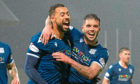 Dundee's Kane Hemmings (left) celebrates a goal with Declan McDaid.