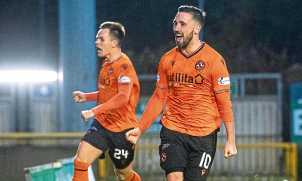 Nicky Clark celebrates after scoring to make it 2-0 during United's win against Inverness on Saturday.
