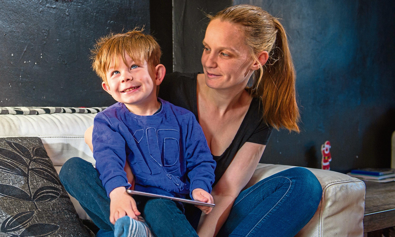 Samantha with her son Karson.