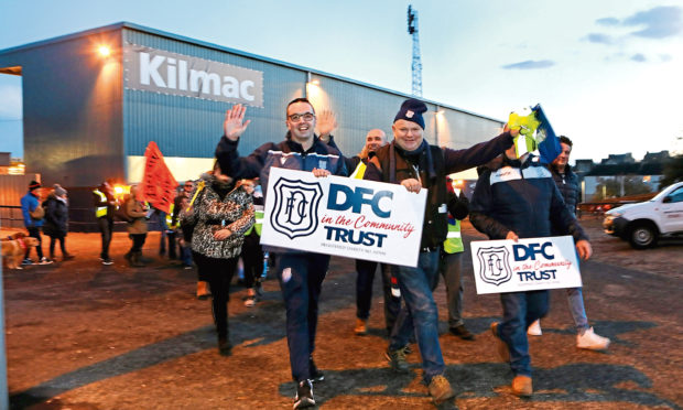 Fans from various teams walked to the Balgay Bar from Dens Park and back to Dens for the game on Friday.
