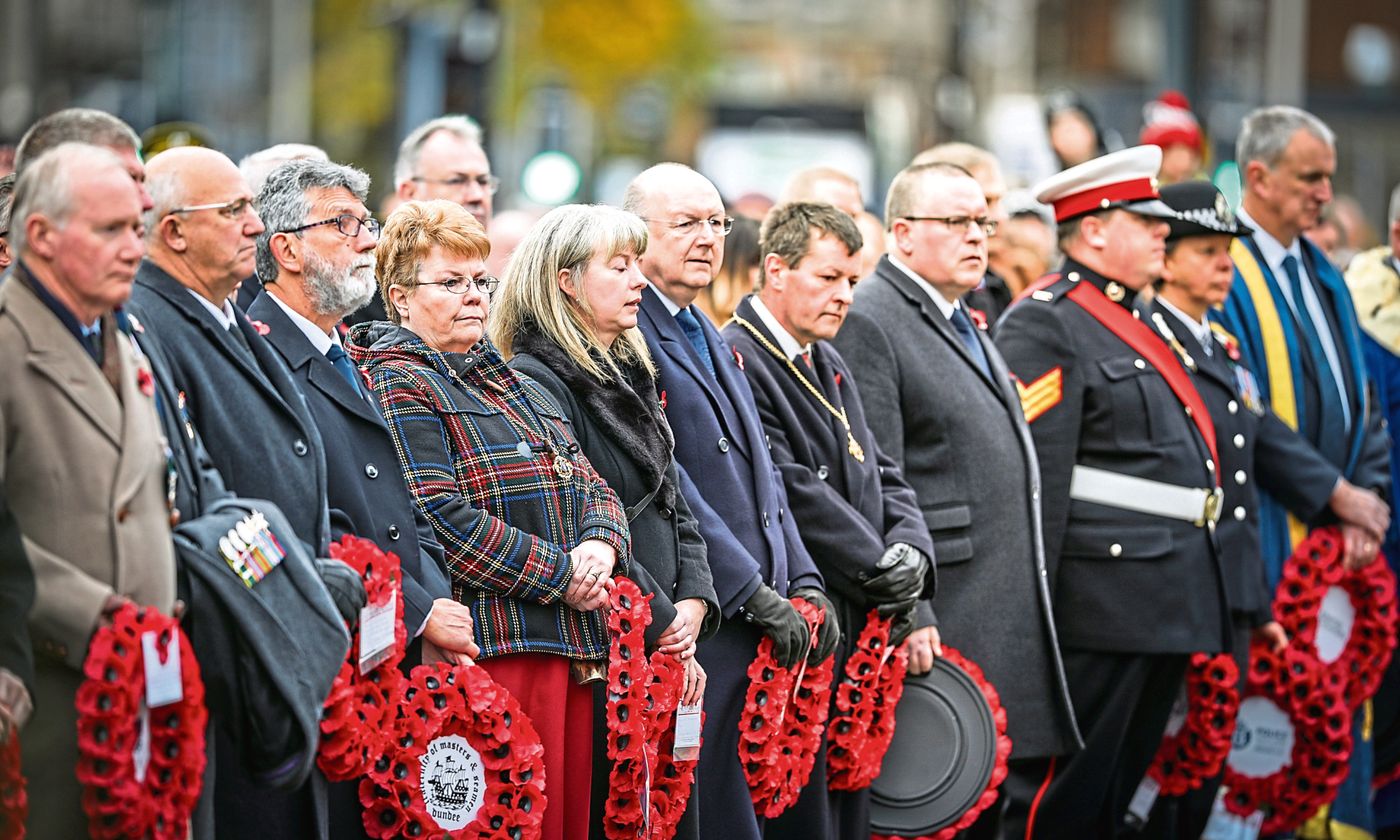 Local politicians laid wreathes at the memorial service in Dundee.