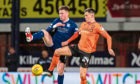 Dundee United's Lawrence Shankland (R) in action with Dundee's Jordan McGhee.