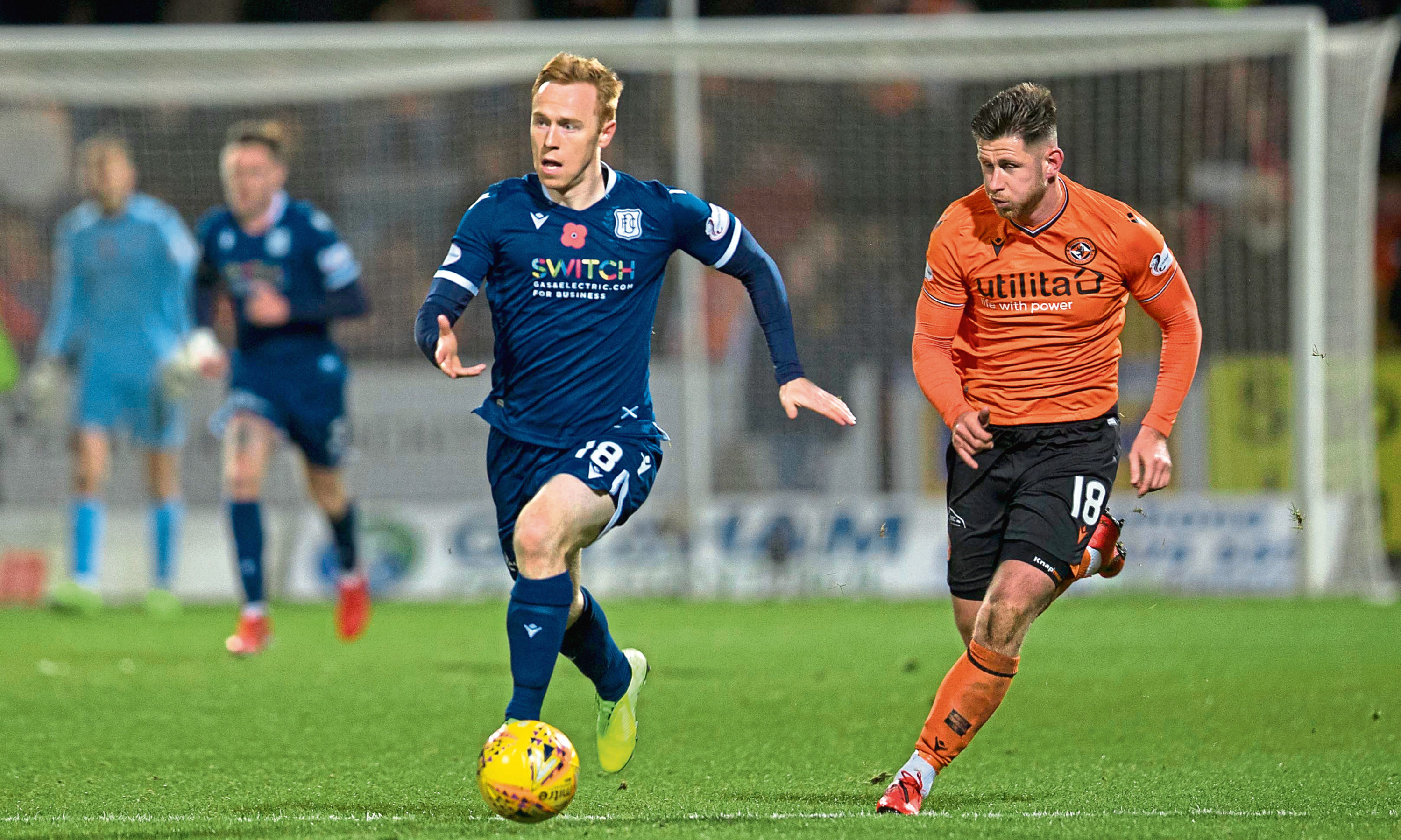 Johnson on the ball against Dundee United at Dens on Friday.