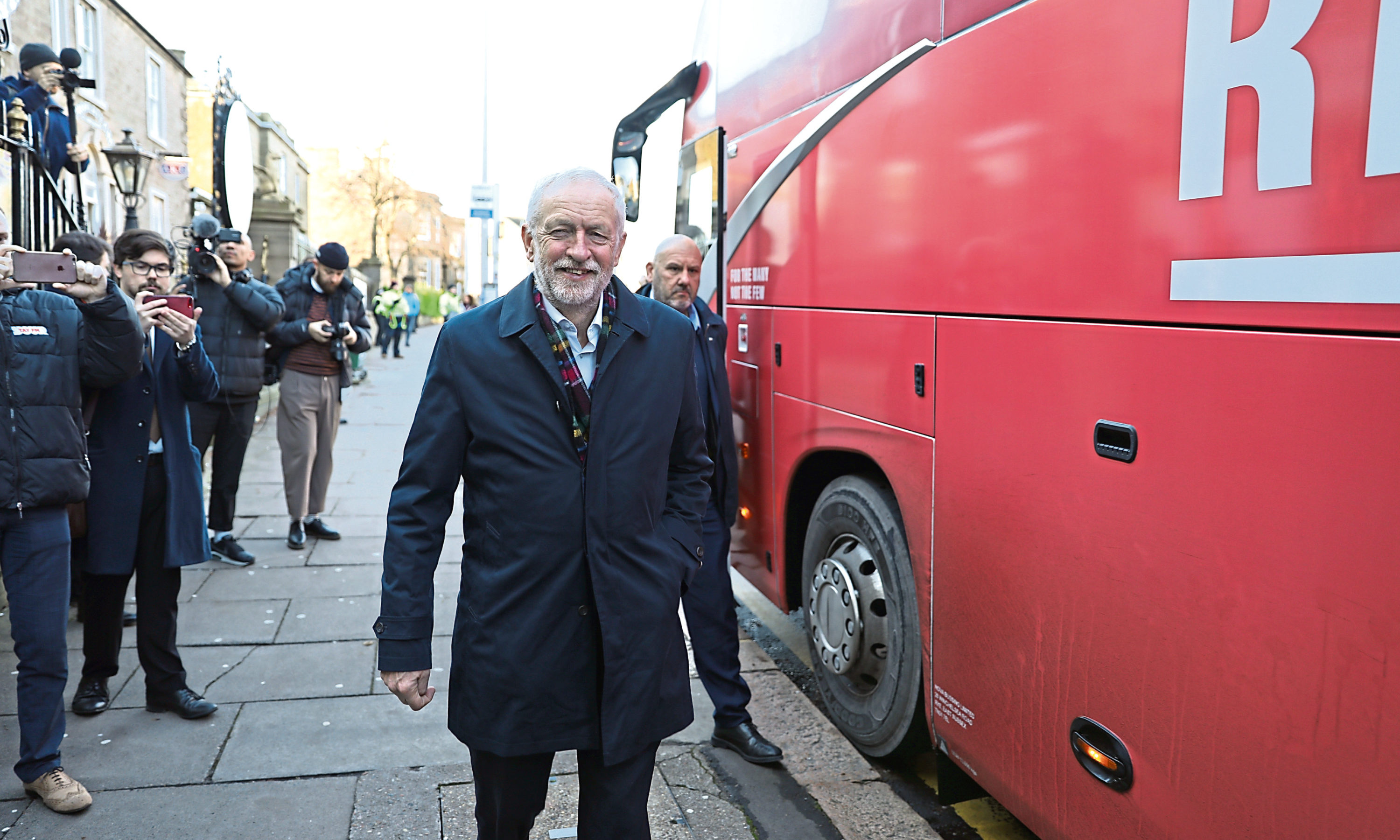 Jeremy Corbyn in Dundee yesterday.