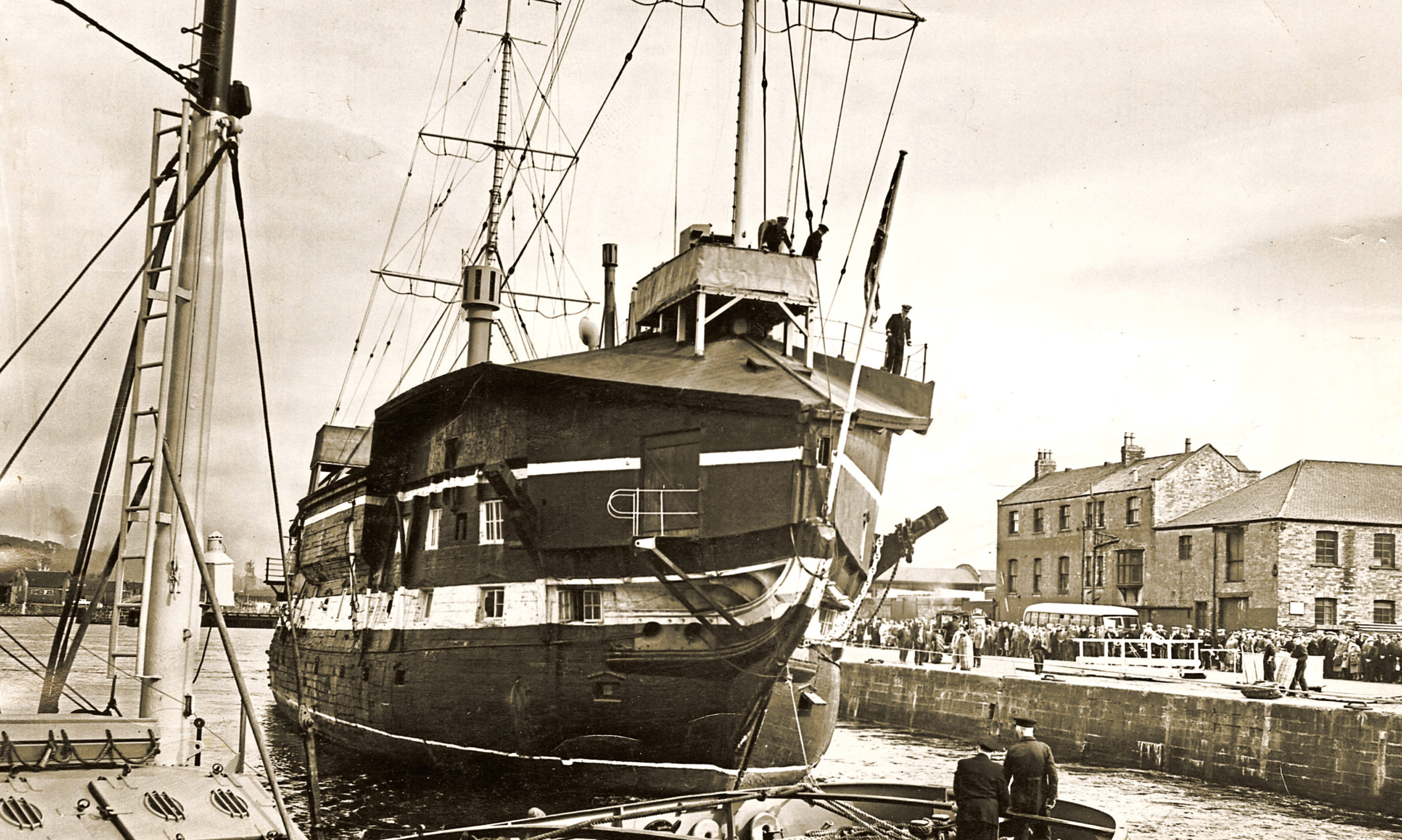 View of HMS Unicorn at Victoria Dock in Dundee in 1963.