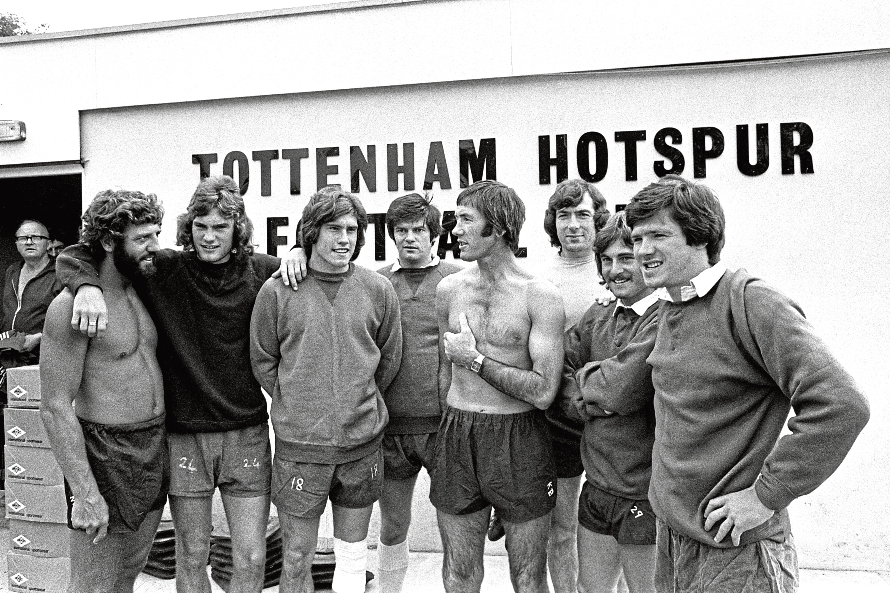 Tottenham Hotspur manager Keith Burkinshaw (fourth from right) with some of the players at the club's Cheshunt training ground. Also in picture (from left) – Chris Jones, Glenn Hoddle, Keith Osgood, John Duncan,  Keith Burkinshaw, Pat Jennings, Jimmy Neighbour and Steve Perryman. See main story.