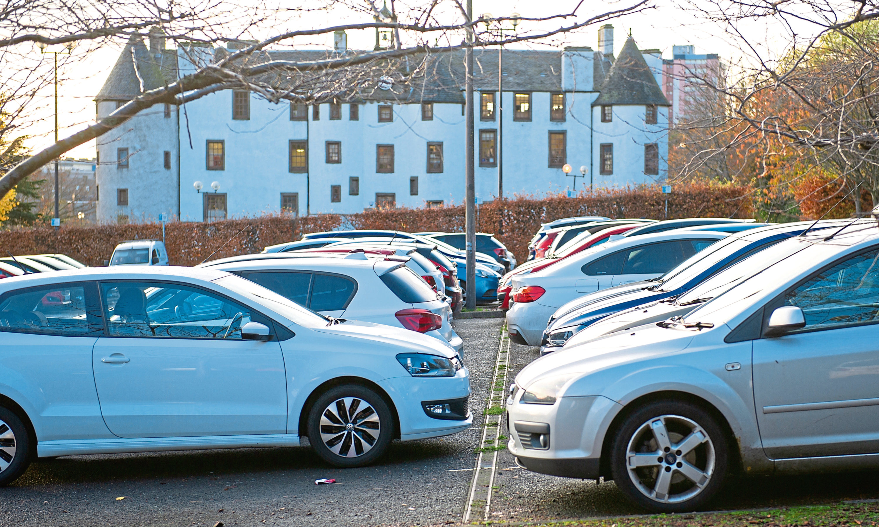 The nearly-full car park, Dudhope Castle, Infirmary Brae, Dundee.