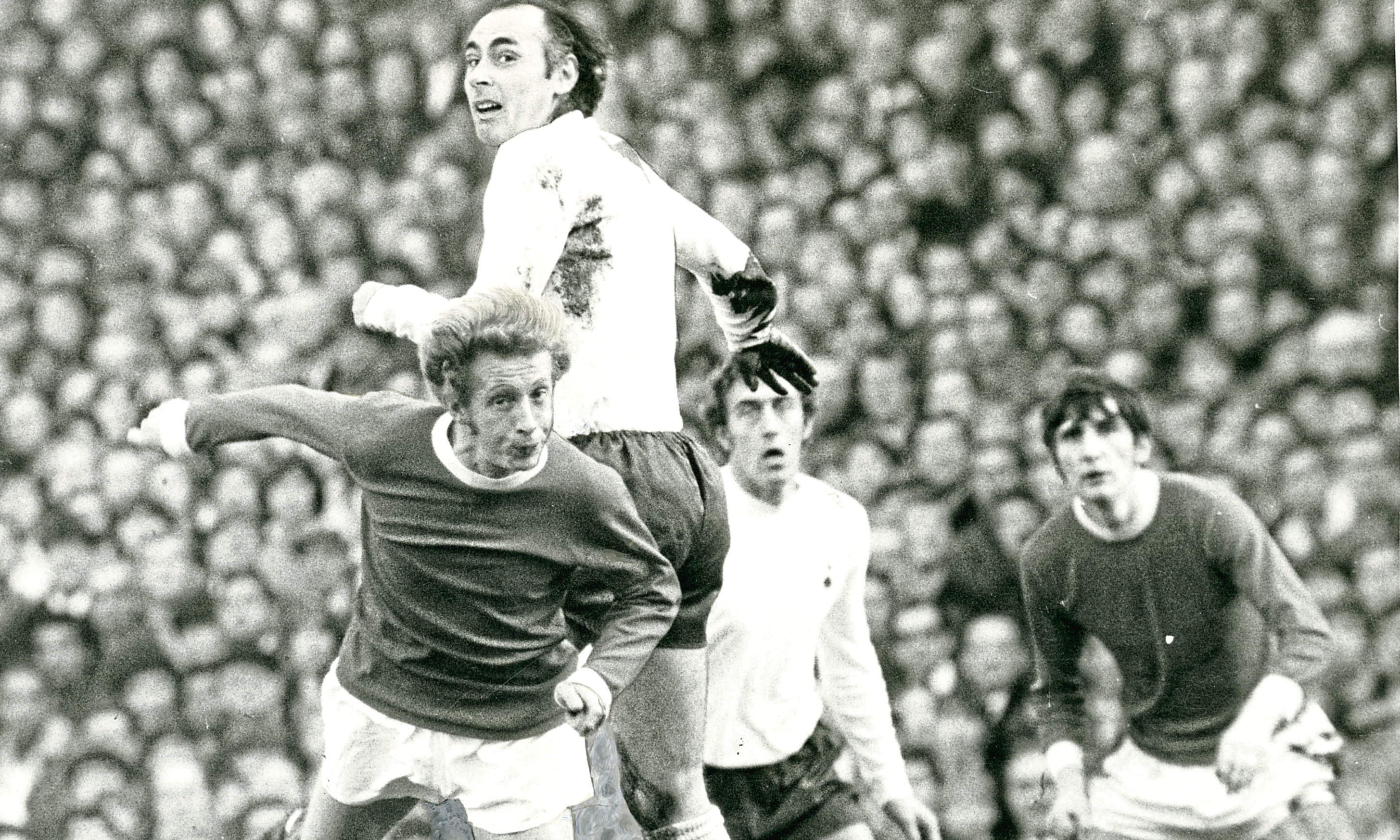Spusr v Manchester United: Alan gets above another Scottish legend Denis Law when Manchester United played at White Hart Lane in 1971.