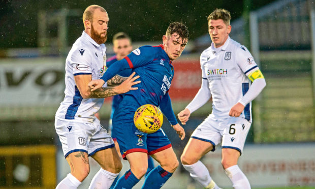 Josh Meekings, right, in action against Inverness.