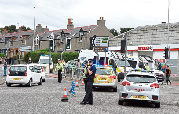 The incident took place on King Street, at the St Machar roundabout, in Aberdeen.