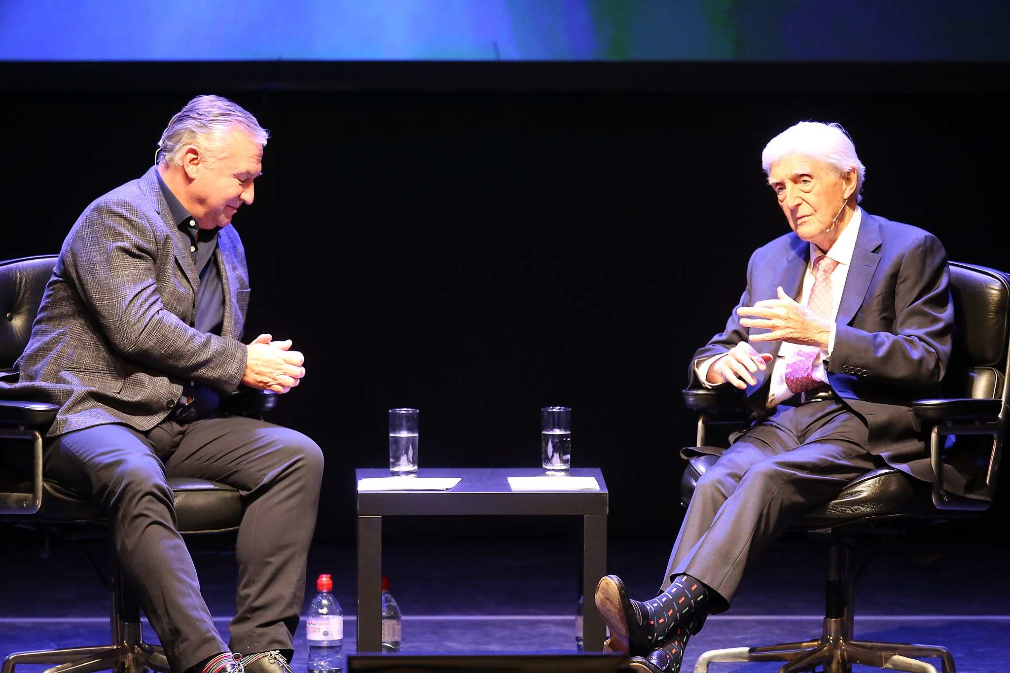 Sir Michael being interviewed by his son Michael Jr on stage in Dundee.