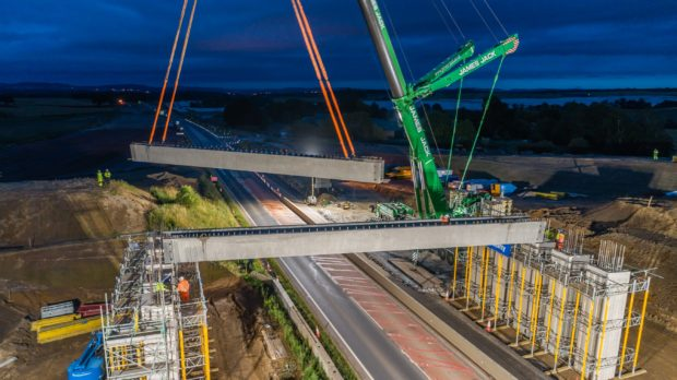 The closures will be in place to allow for a crane to lift concrete beams into place over the existing A9 carriageway.