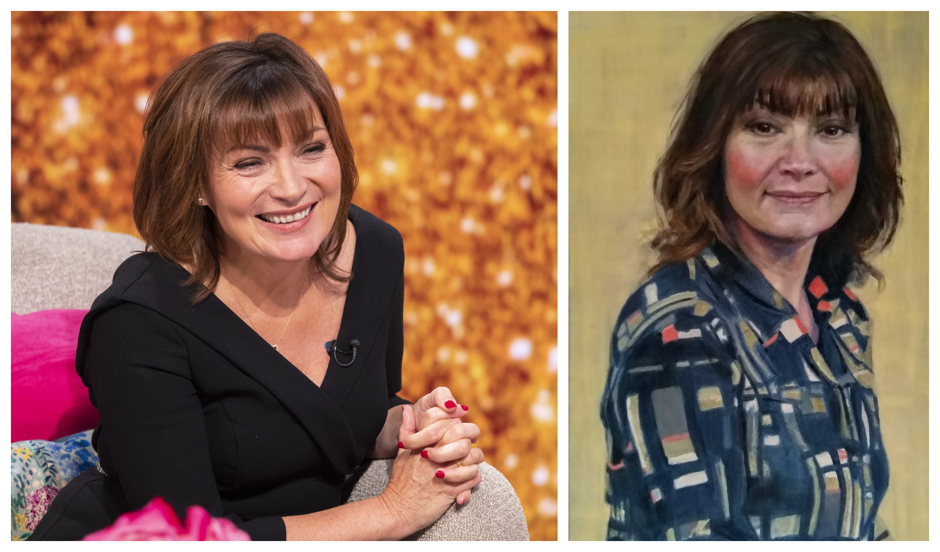 Lorraine's 60th is celebrated on the show and, right, the portrait.