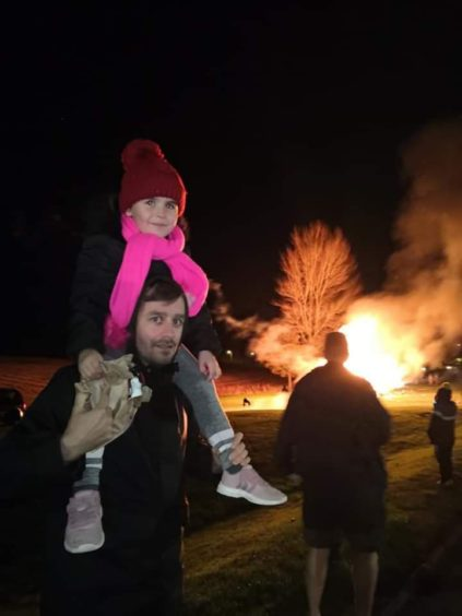 Attendees at the bonfire at Cheviot Crescent in Fintry.