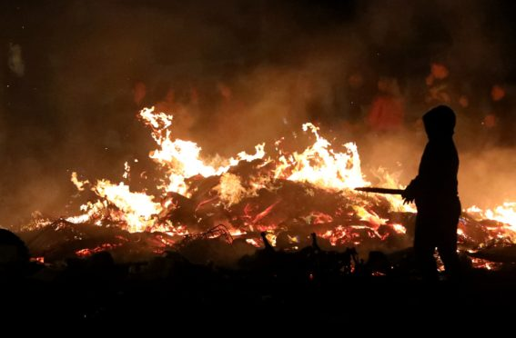Fire crews were forced to put out the bonfire at Kirkton.