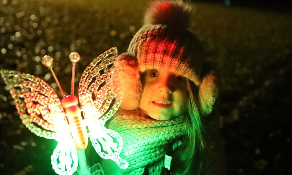 Laila Gowans from Monifieth at the Baxter Park fireworks display.