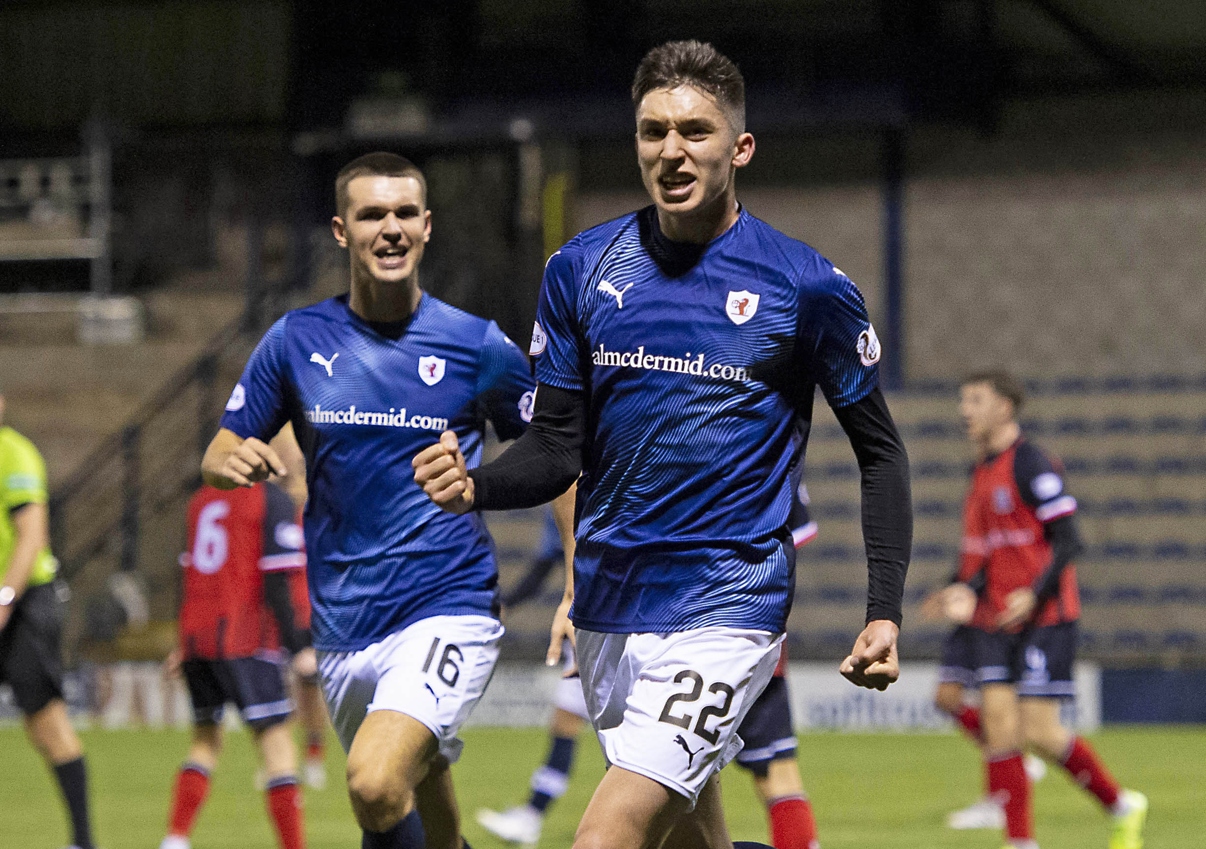 Kieron Bowie wheels away after putting Raith Rovers in the lead against Elgin in the Challenge Cup.