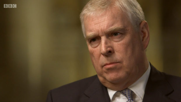 Prince Andrew during his interview on BBC's Newsnight.