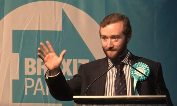 Calum Walker at a Brexit Party rally earlier this year.