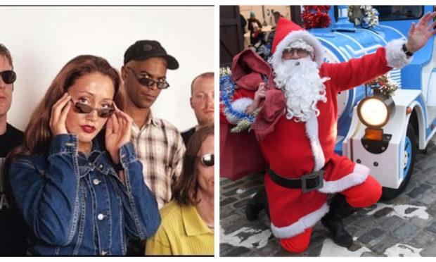 N Trance, left, with kelly Llorenna who sang on their hits Set You Free and Forever, and right, Santa Claus.
