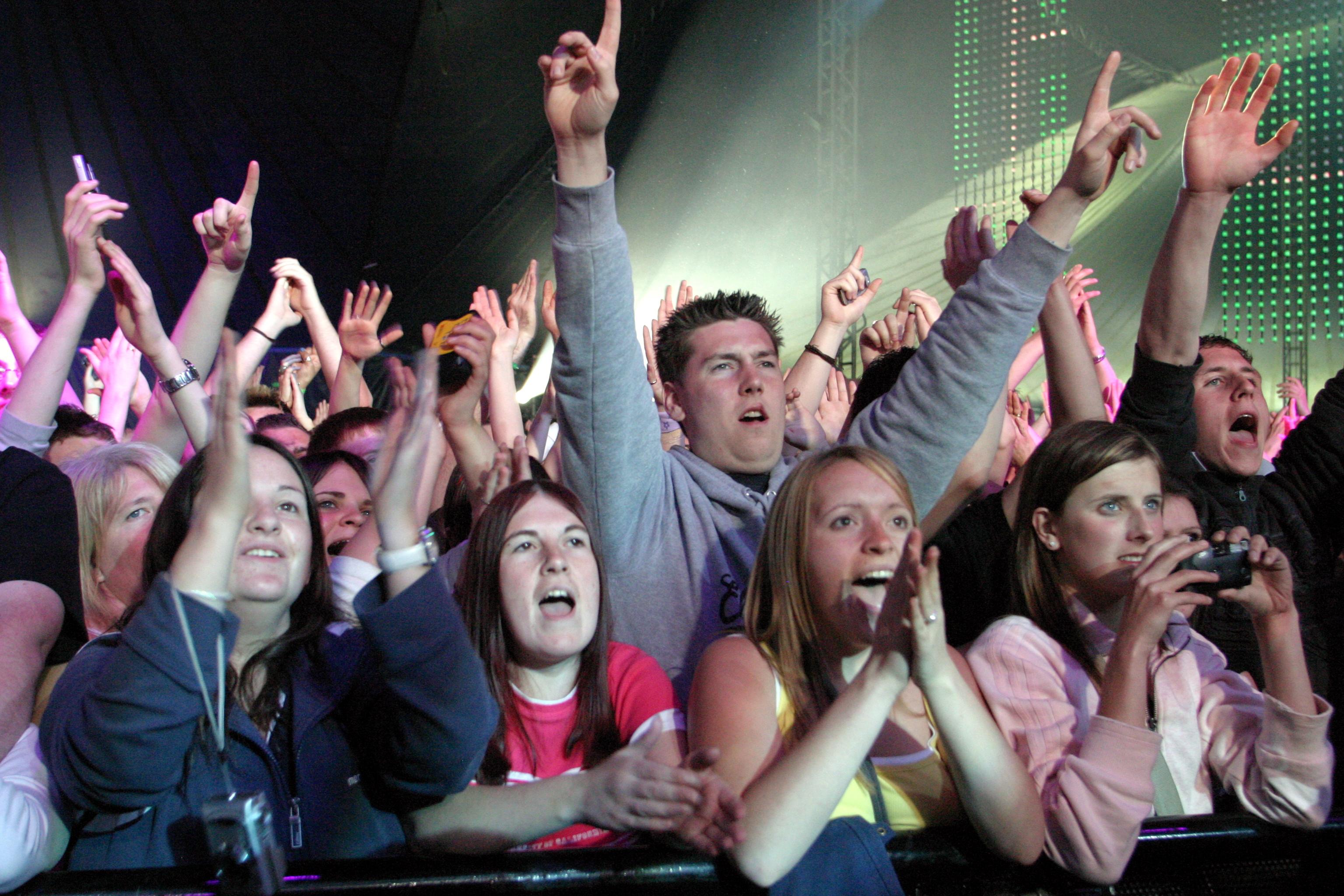 Revellers enjoying Radio 1's Big Weekend at Camperdown Park, Dundee in 2006.