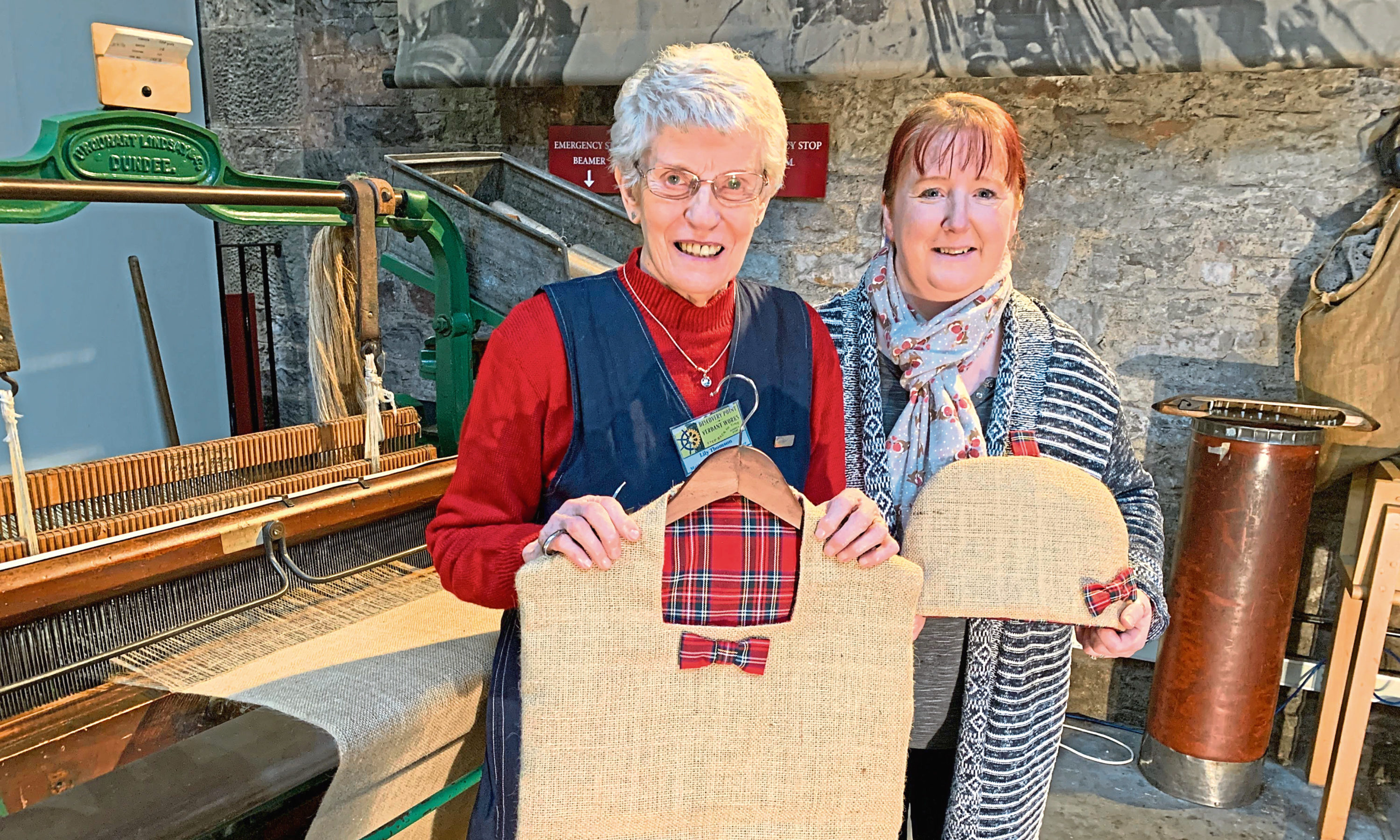 Lily with seamstress Margaret Duncan.