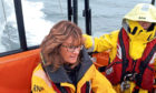Lindsey Hamilton on training exercise with Broughty Ferry Lifeboat.